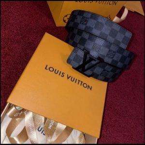 Authentic Louis Vuitton Belt Graphite Damier 95/38